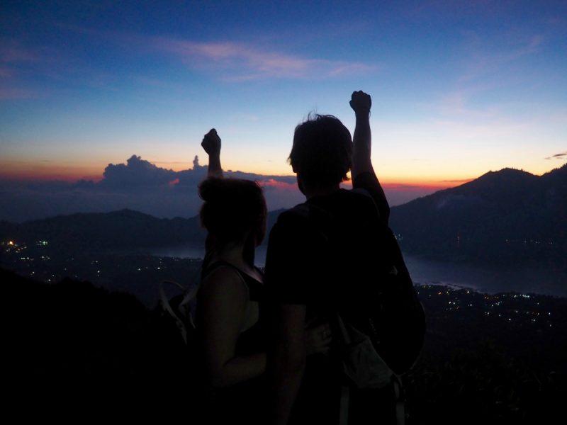 couple at the top of the Mount Batur Sunrise trek