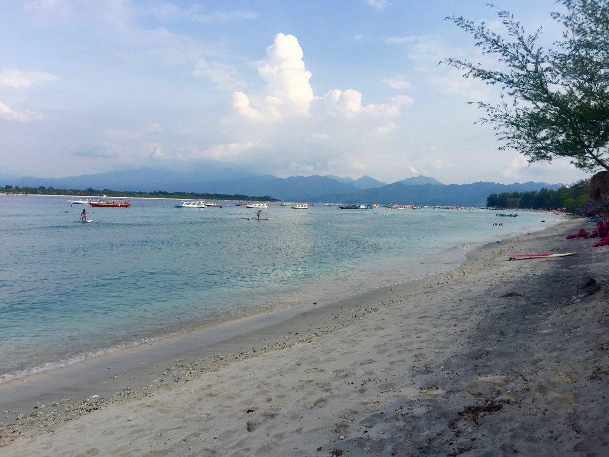 The sandy beaches in Gili T, a popular island destination off the coast of Bali in Indonesia