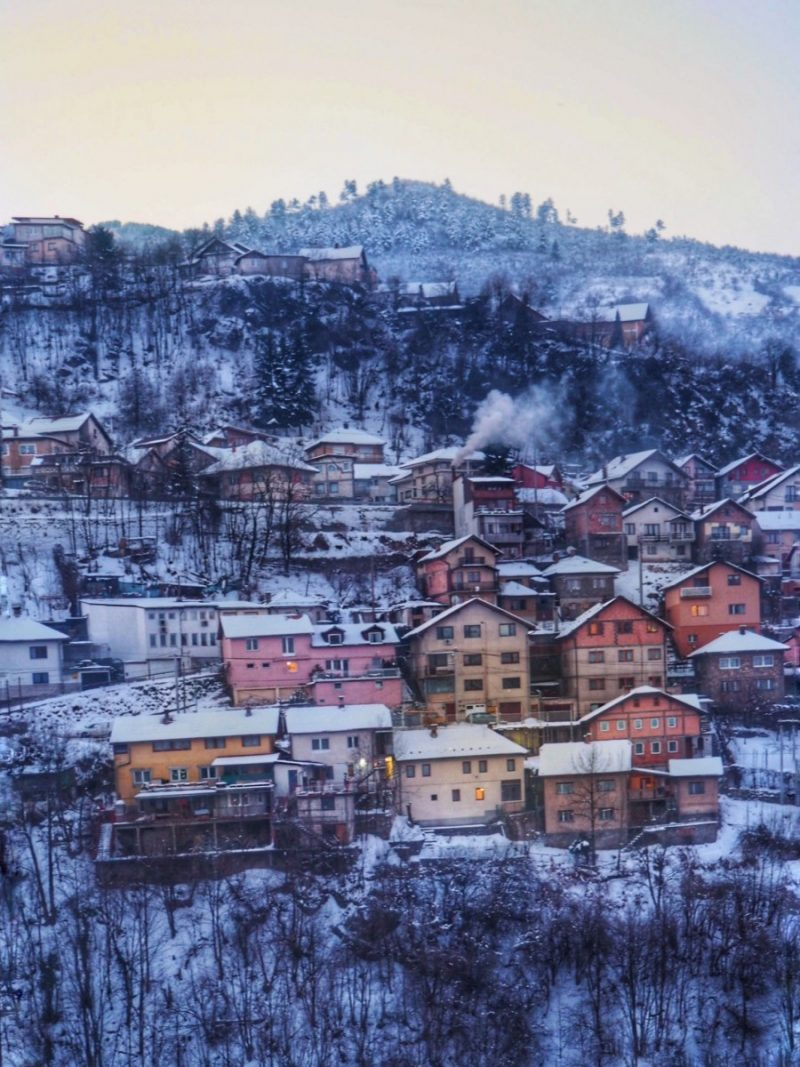The view over the mountain of houses covered in snow in Sarajevo, bosnia