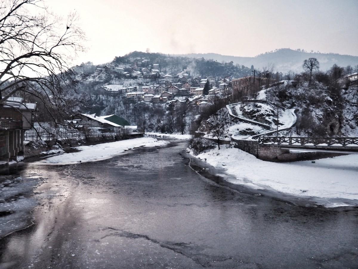 the lake in Sarajevo, Bosnia covered in ice