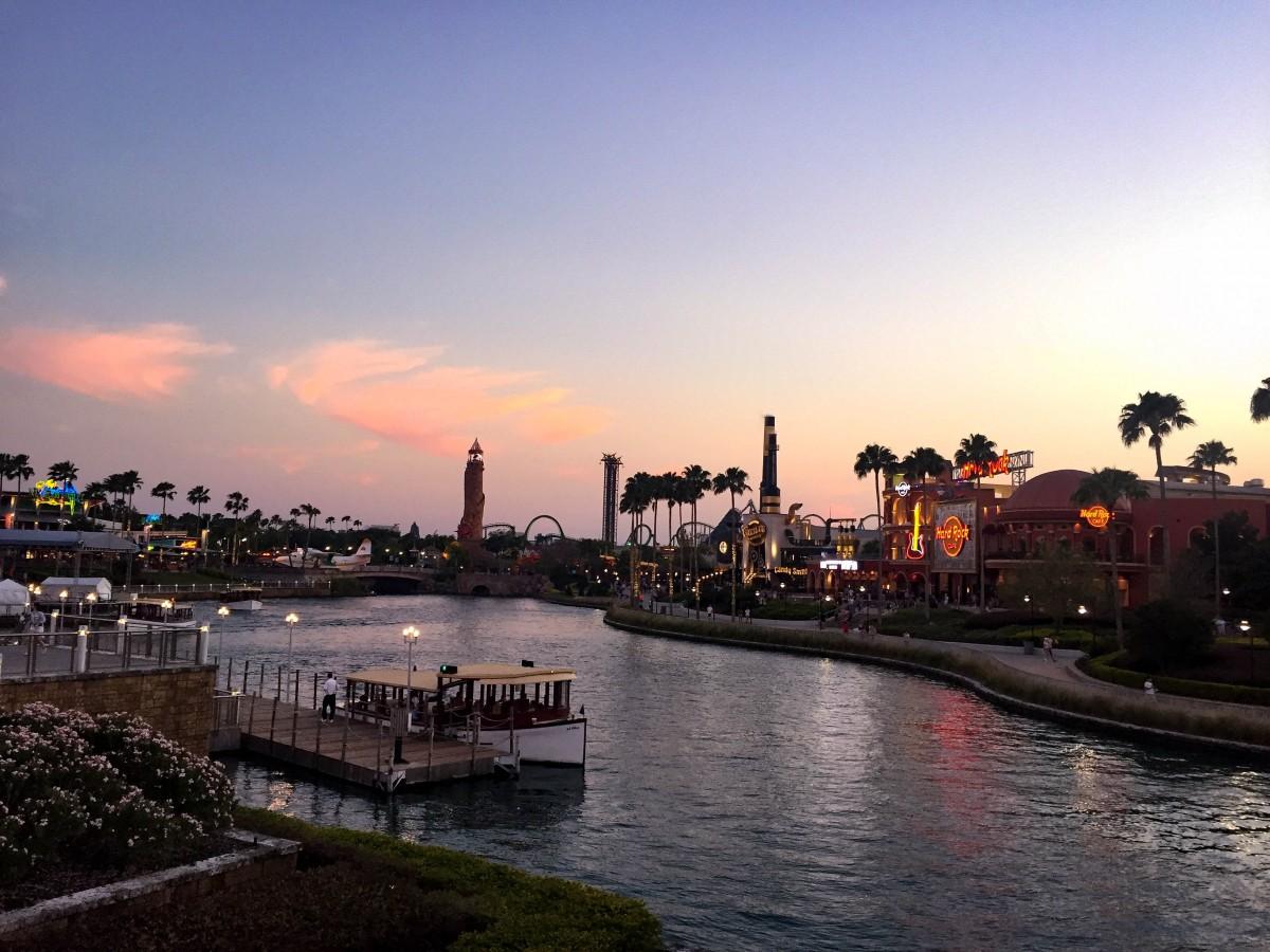 universal city walk at sunset, in orlando, florida