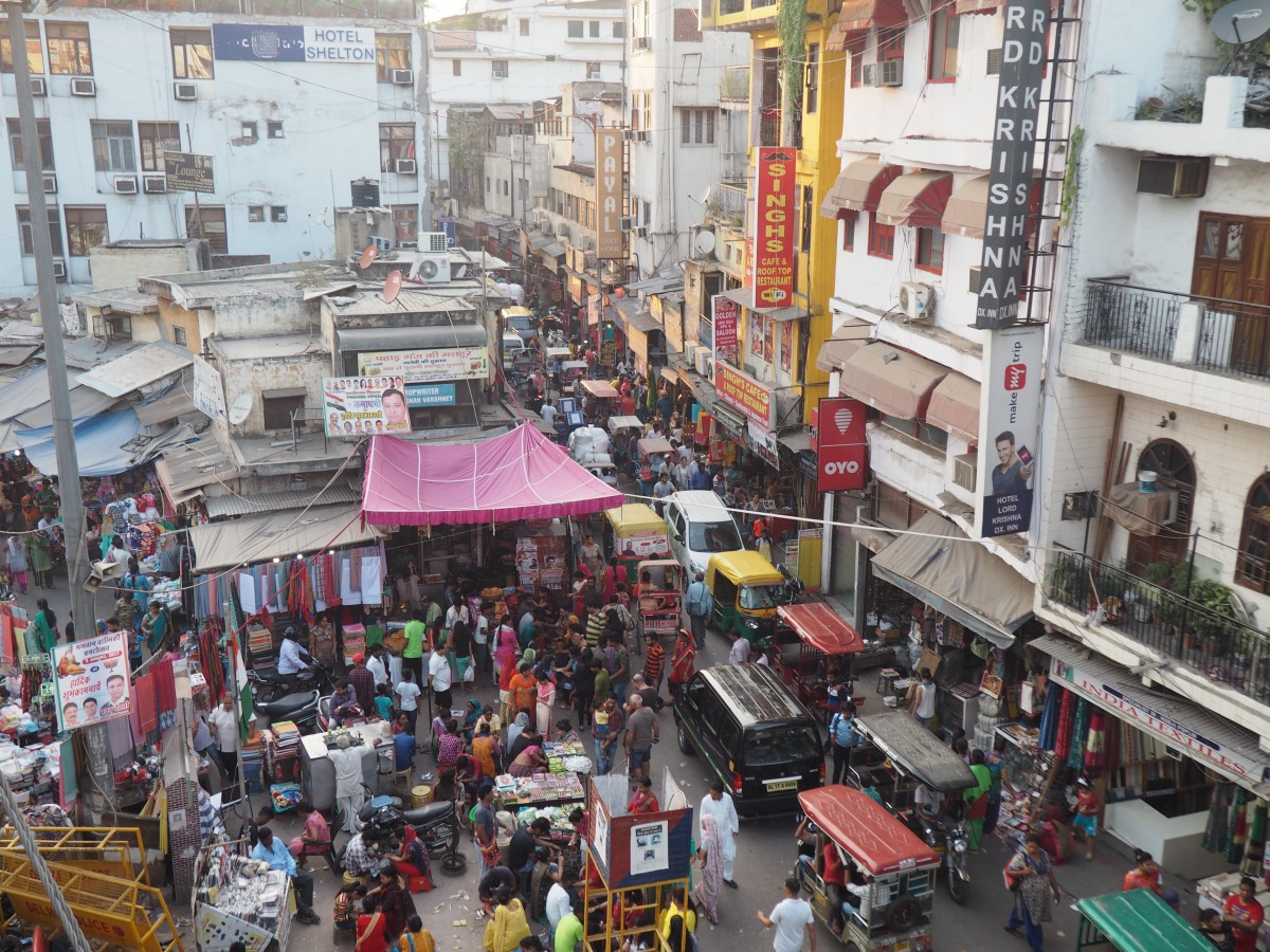 a market place in old delhi, india