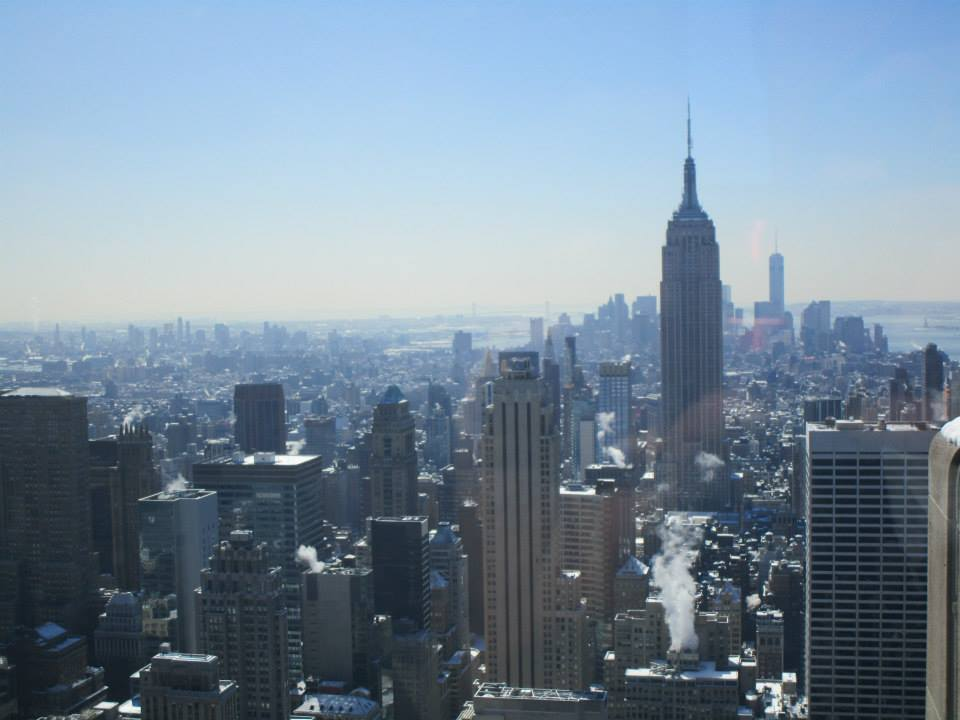 The view of the empire state building from the top of the rockefeller
