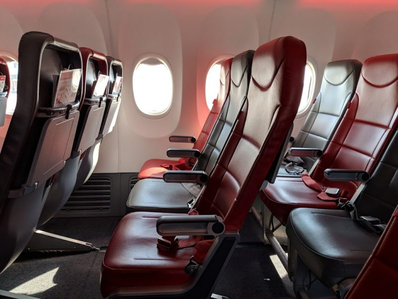 photo of the seats on a jet2 aeroplane