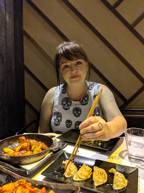 lady eating at quirky london restaurant inamo