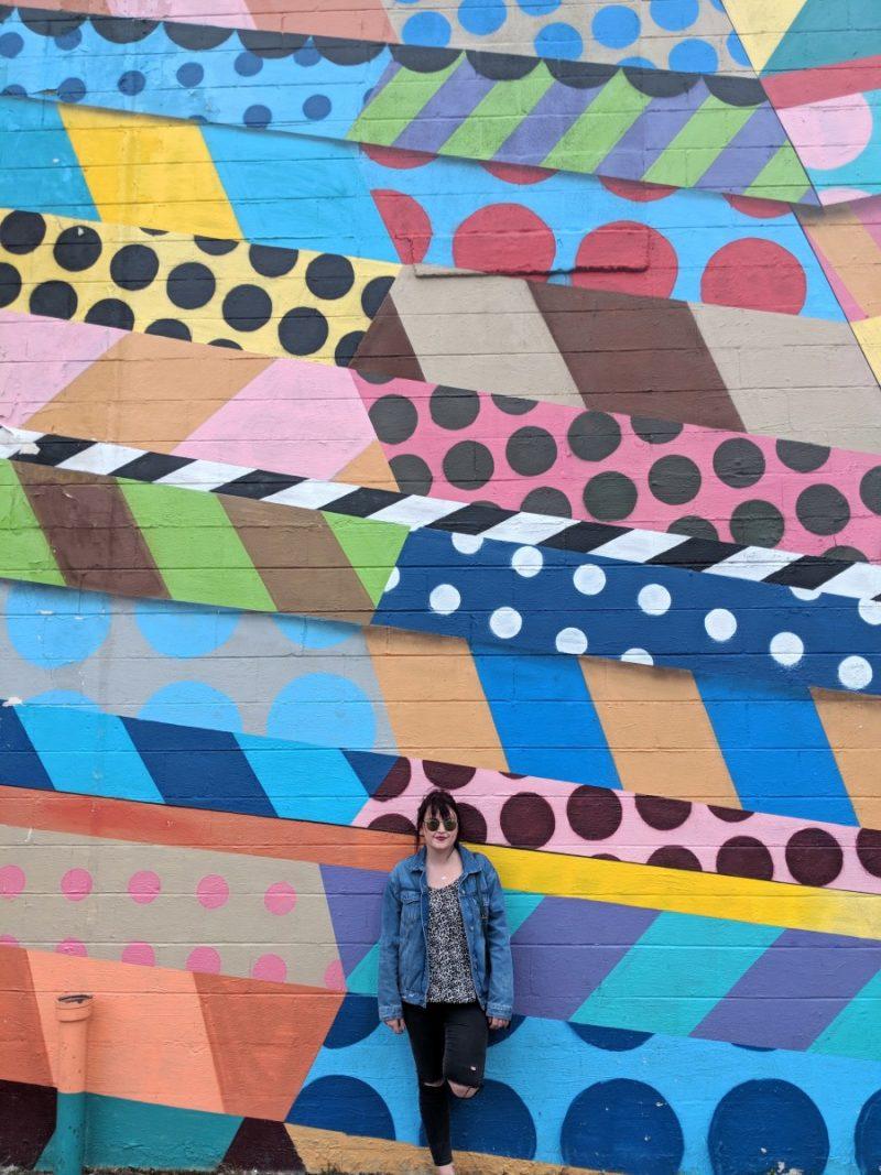 Bright coloured wall art in gulch street, nashville