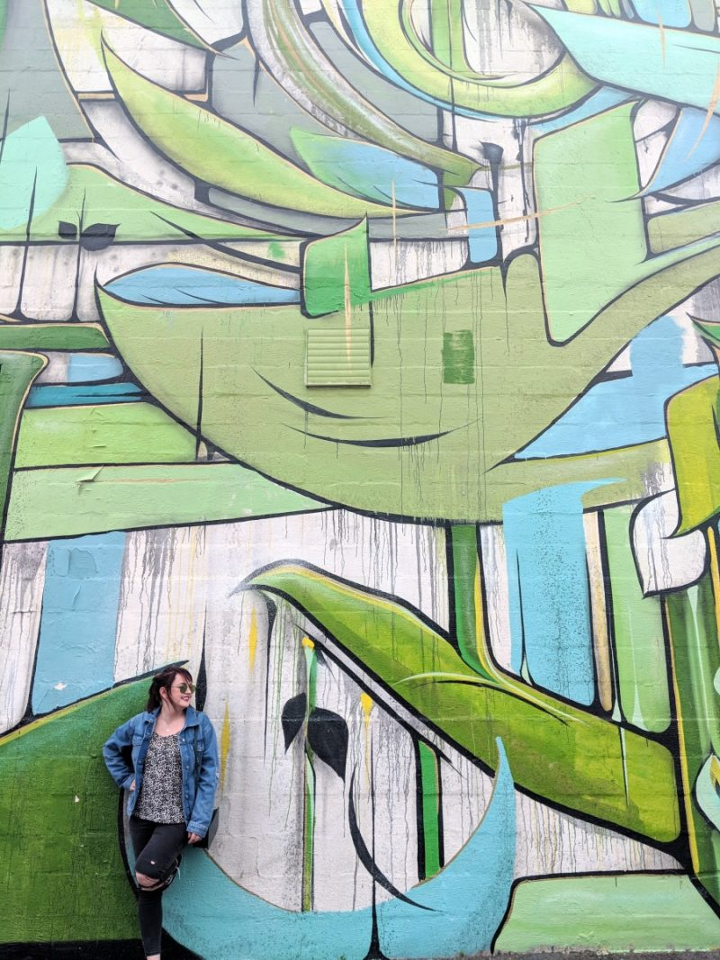 Green coloured wall mural in gulch street in Nashville