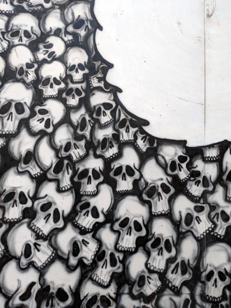 The skull wall mural in Nashville