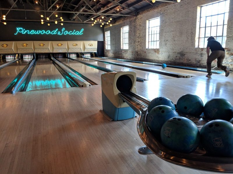 the pinewood social bowling alley in Nashville