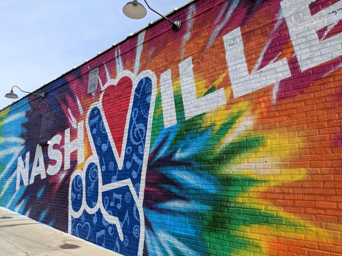 The colourful 'peace' wall mural in Nashville