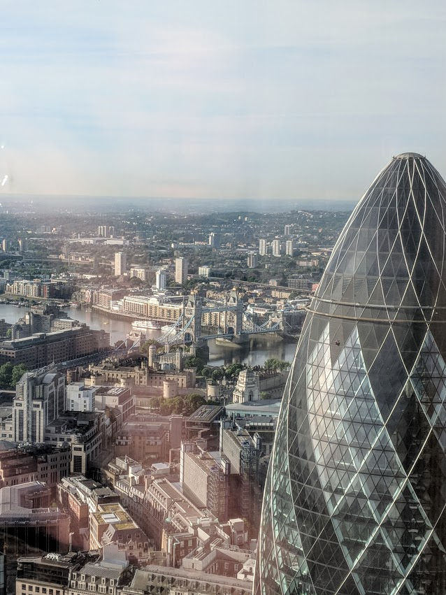 London insider tip - an amazing view of the gherkin and across London from the Duck and Waffle Restaurant