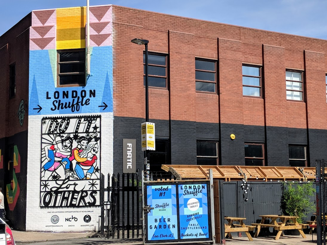 The outside of the london shuffle club in Shoreditch London