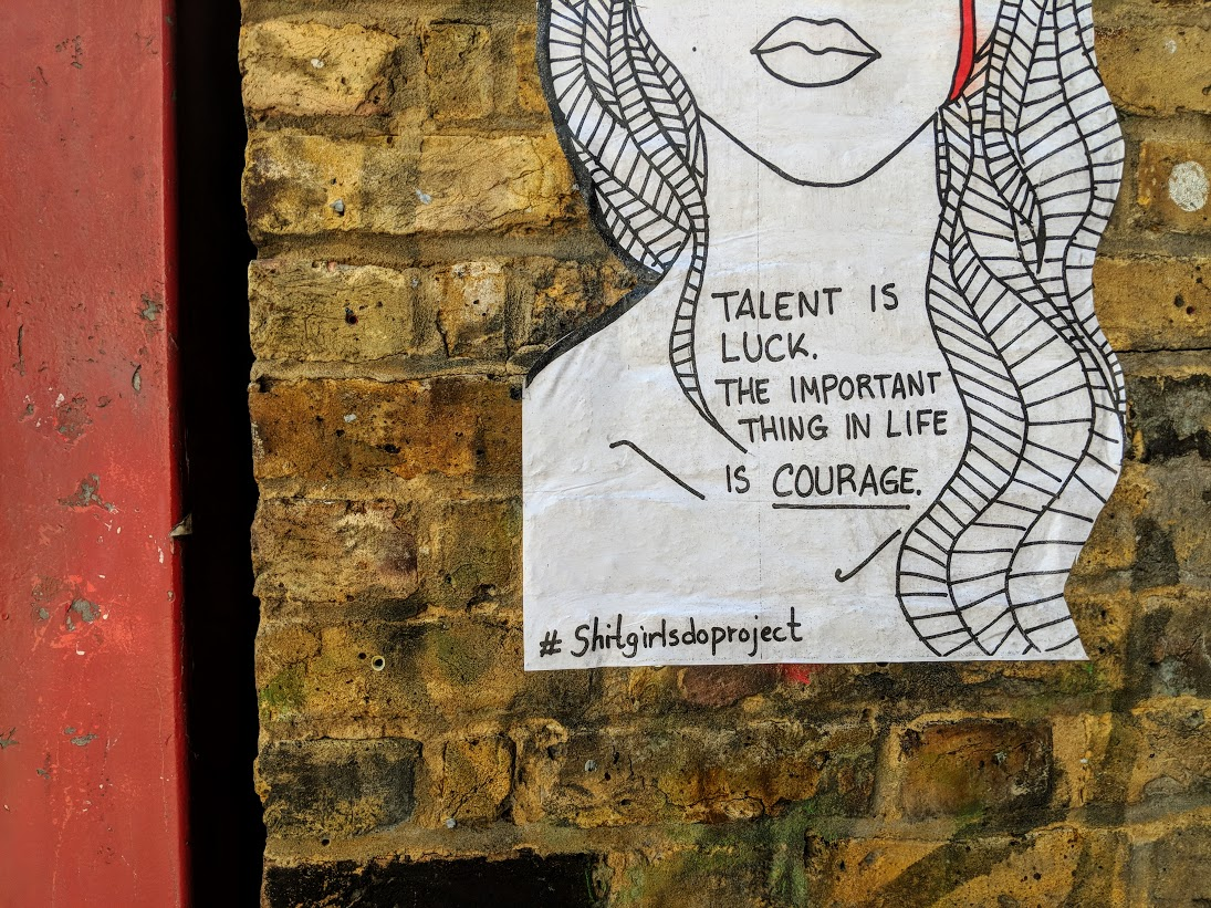 positive message street art in shoreditch london