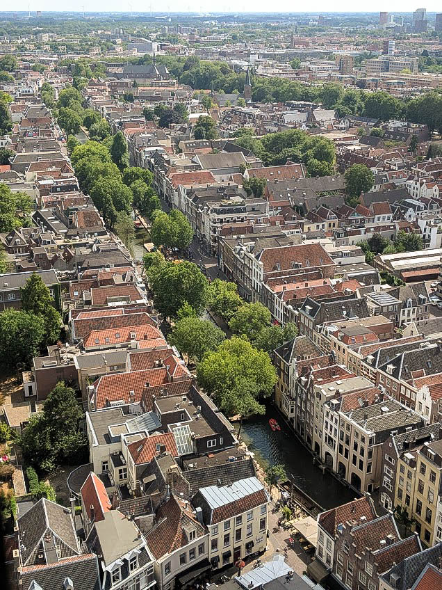 The view from the Dom tower in utrecht, a popular tourist attraction when spending a weekend in Utrecht