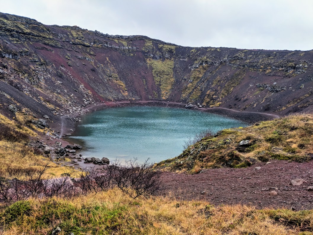 The Kerid Crater in Iceland, a popular stop on the golden circle self drive route