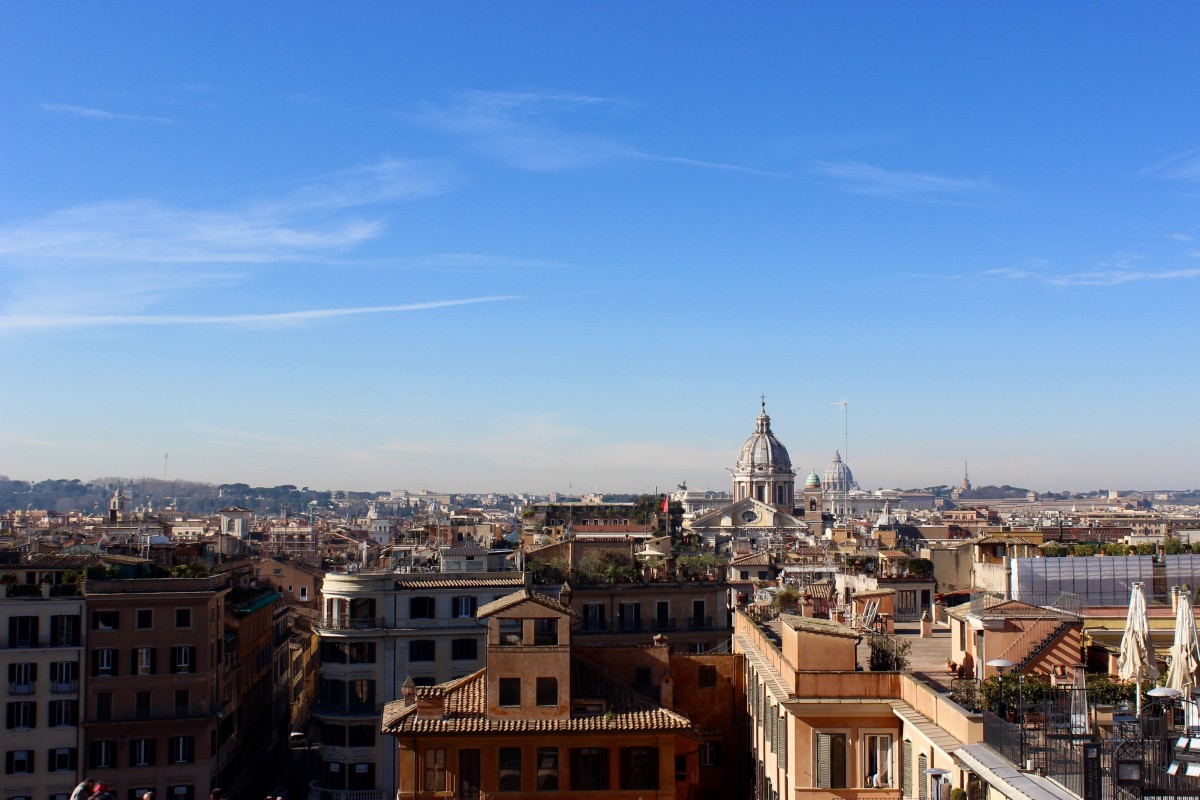 The view of rome from the tops of the spanish steps