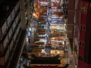 The temple street market is a great place to visit in the evening in Hong Kong
