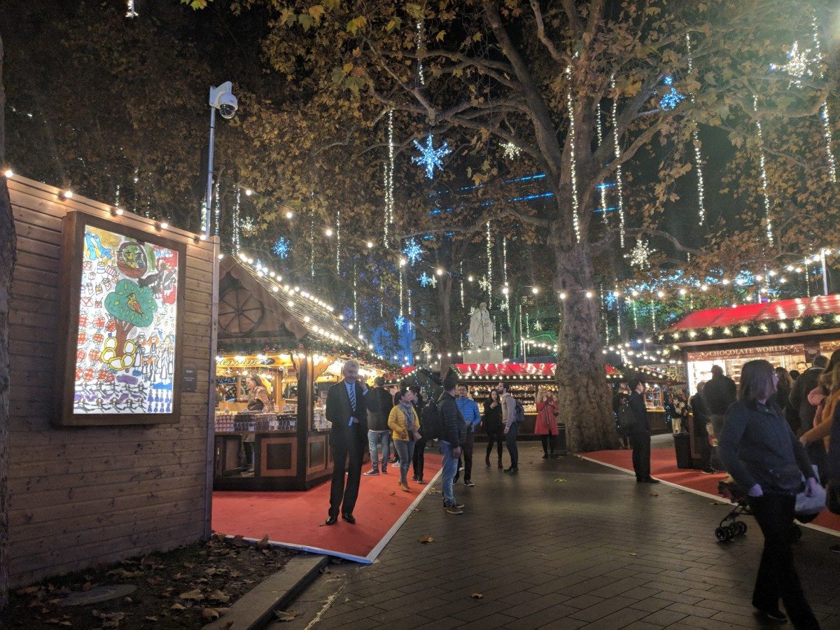 The traditional european people style Christmas markets are one of the tops things to do in leicester square at Christmas time