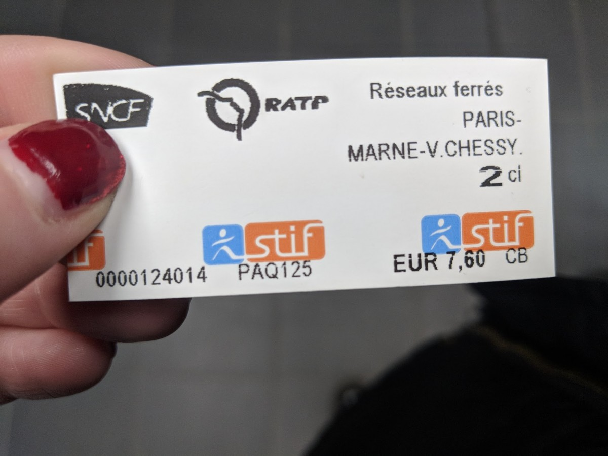 ticket for RER from Gard Du Nord to Disneyland Paris