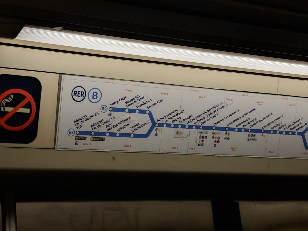 The RER B train line sign