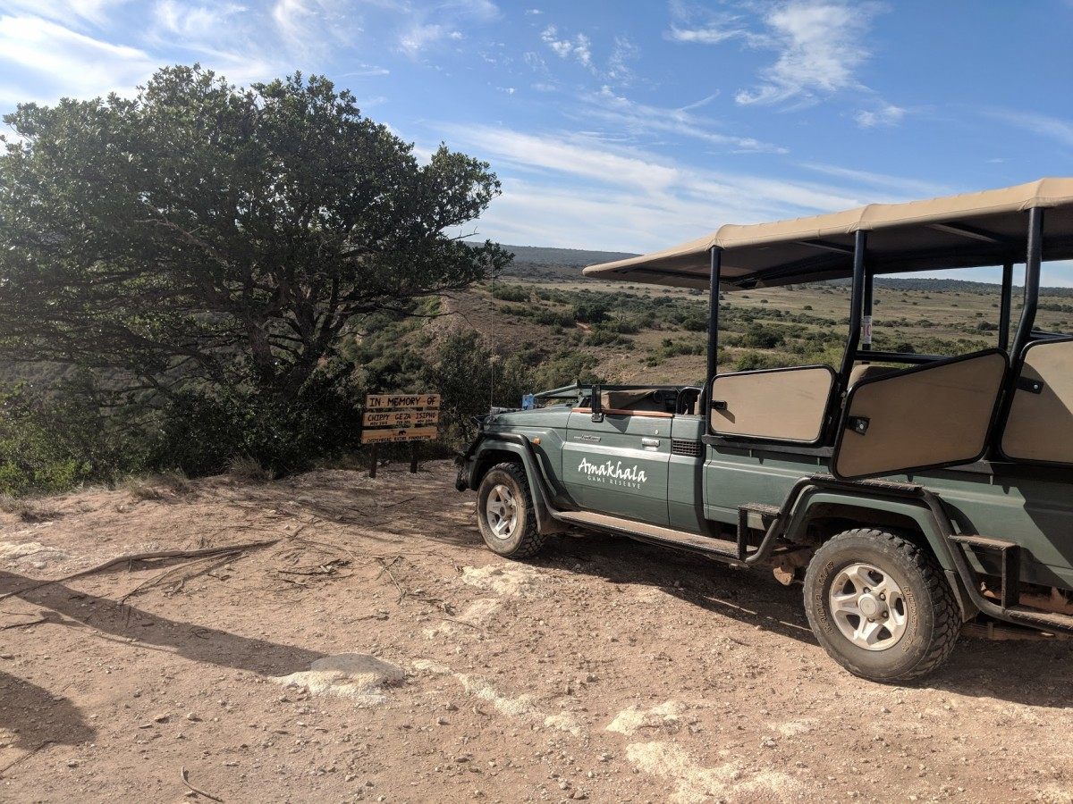 safari jeep at god's window in the Amakala Game Reserve, the perfect place to end your 10 days in South Africa