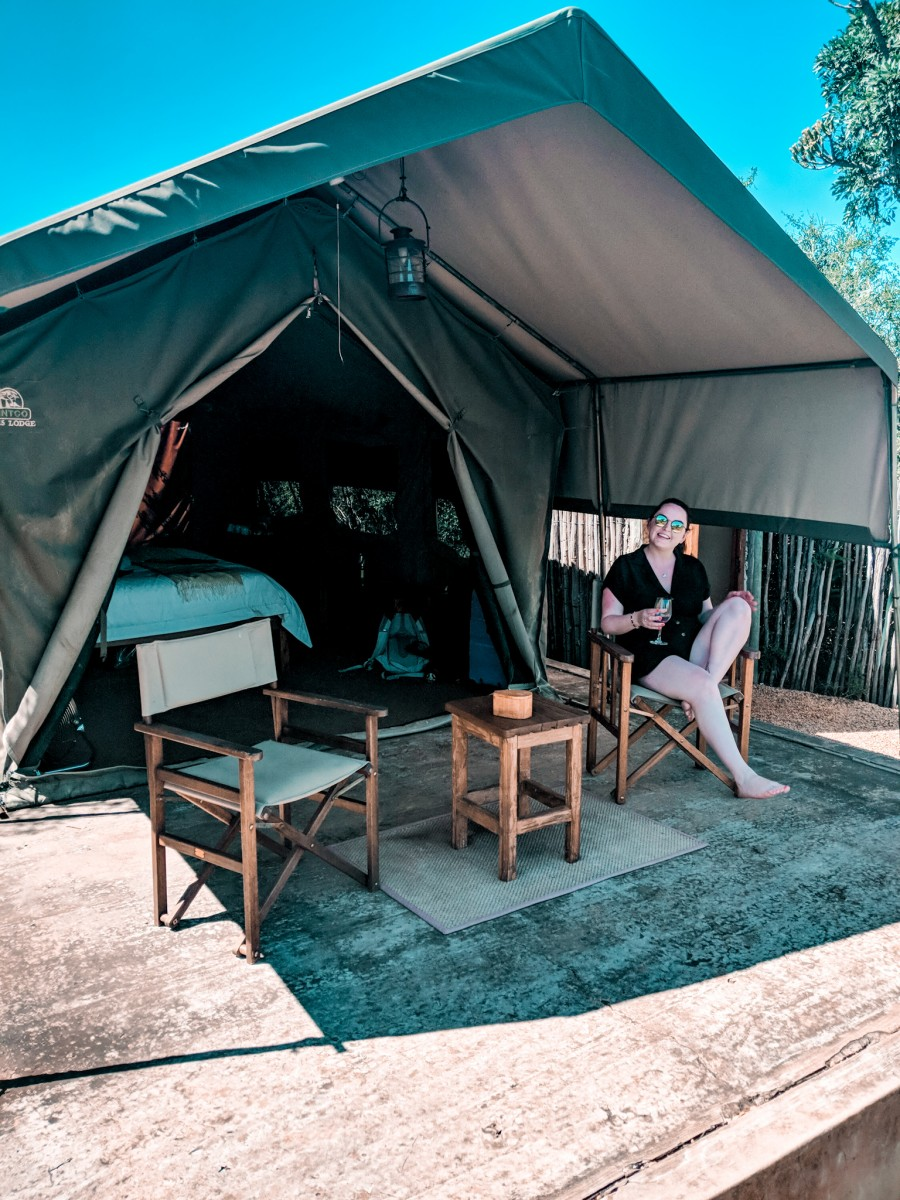 Lady outside woodbury tented camp, one of the best lodges in Amakhala Game Reserve, South Africa