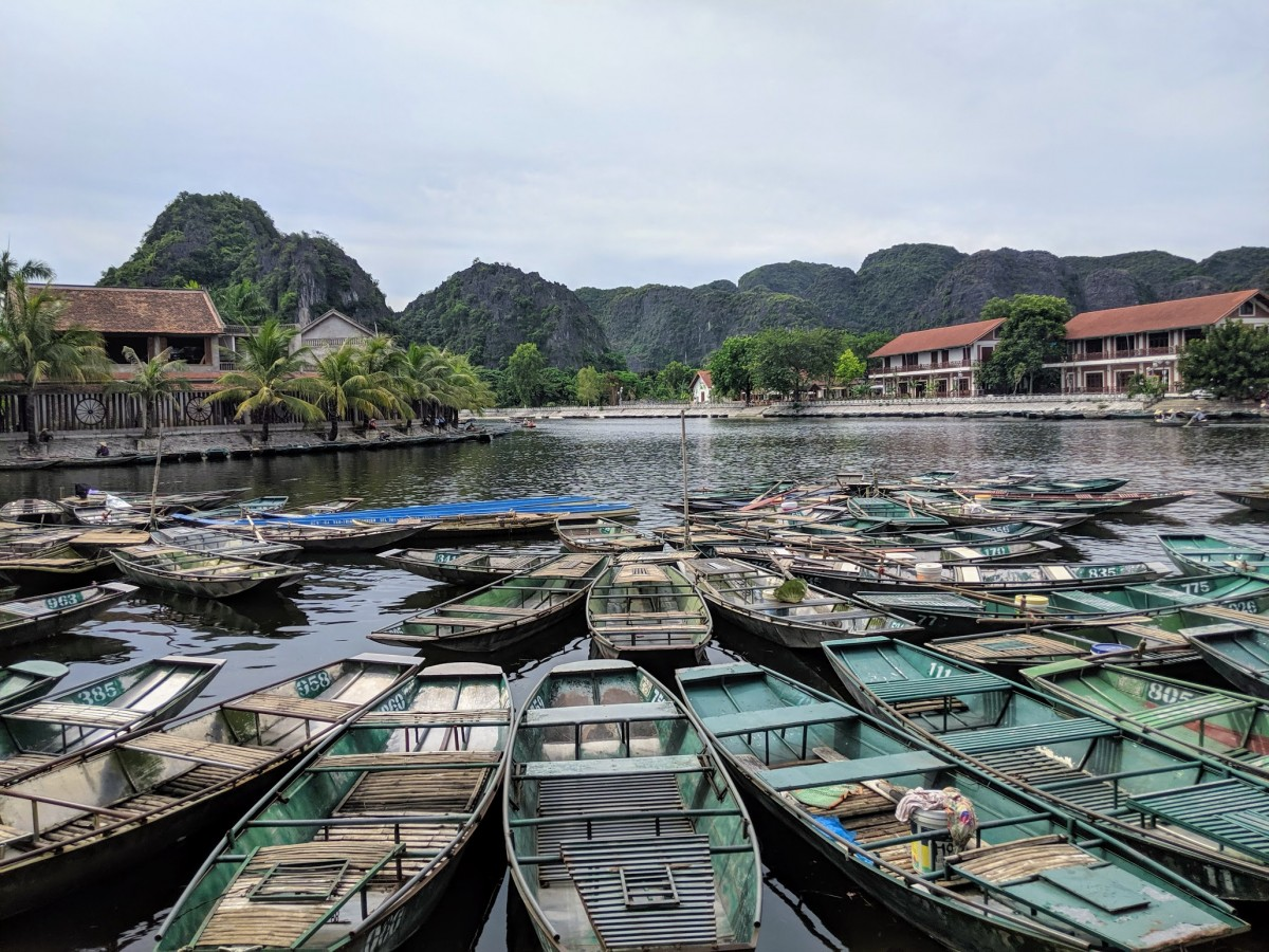 boats in tam coc, vietnam