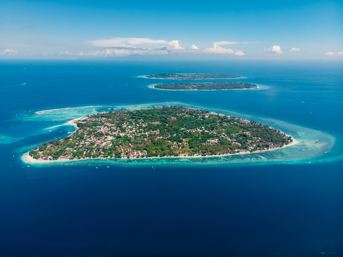 drone shot of the gili islands, indonesia