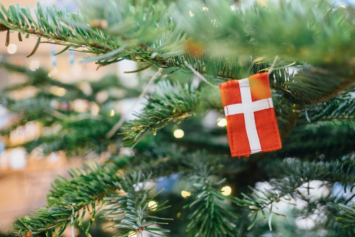 danish flag on a christmas tree