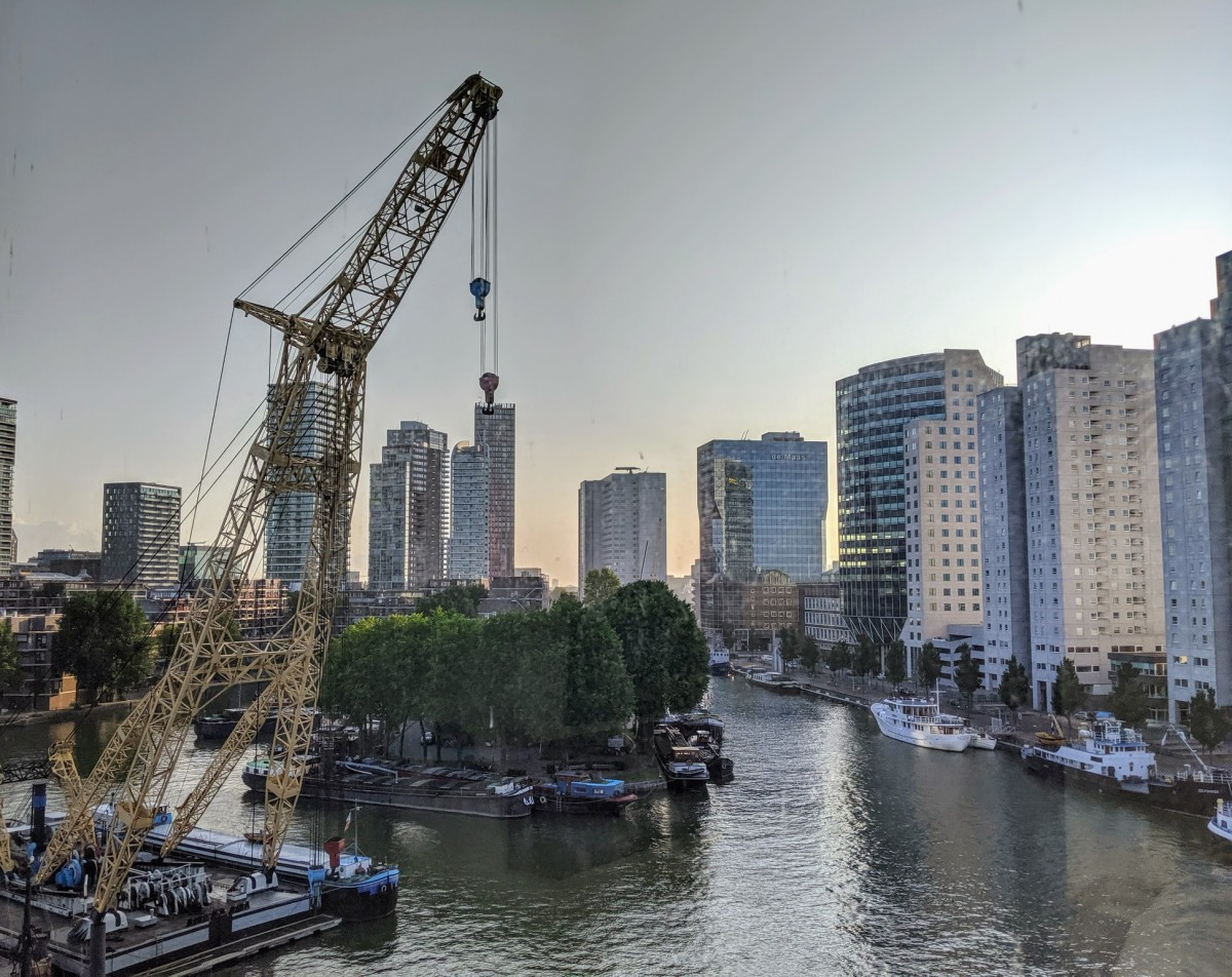 view from the mainport design hotel, a great place for one day in rotterdam