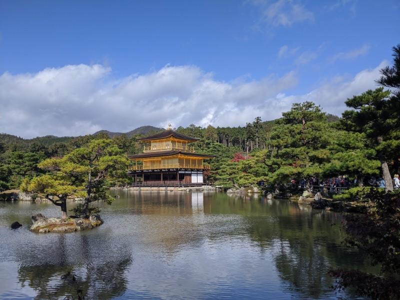 golden pavilion on the lake in kyoto, japan
