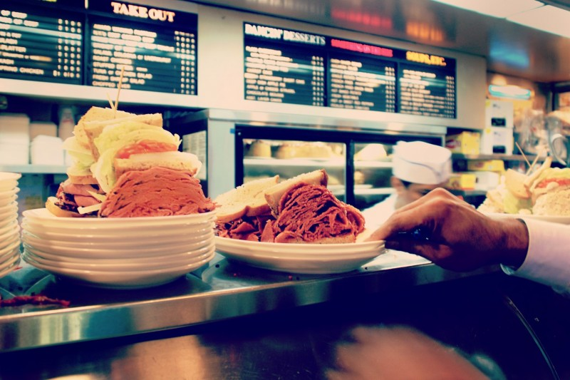new york pastrami sandwiches in a diner