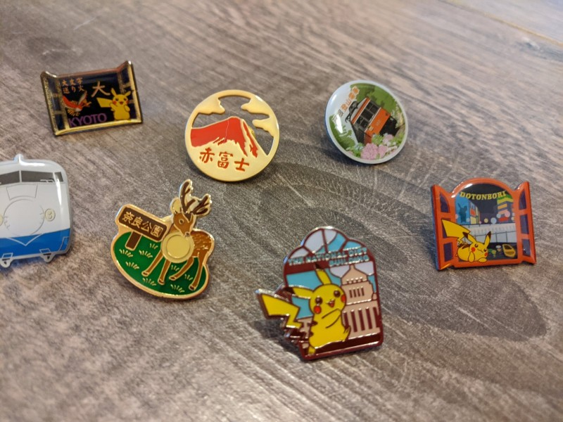 tourist pins from gashapon machines in tokyo, a great souviner from japan