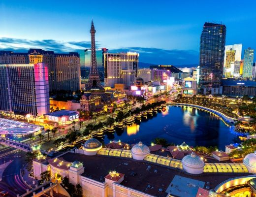 view of las vegas from above, one of the great things to do in las vegas for couples is taking in the views