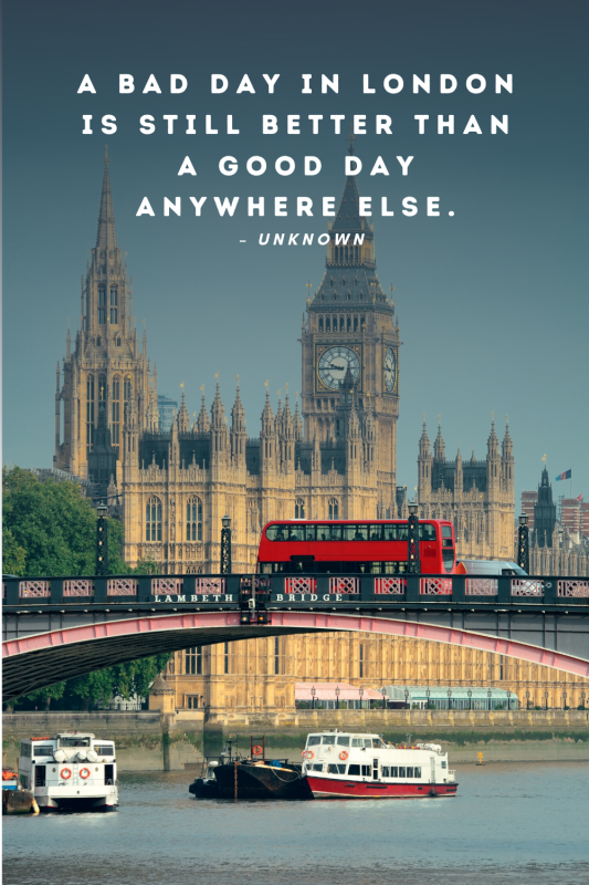 London bus driving past big ben overlaid with a quote about london