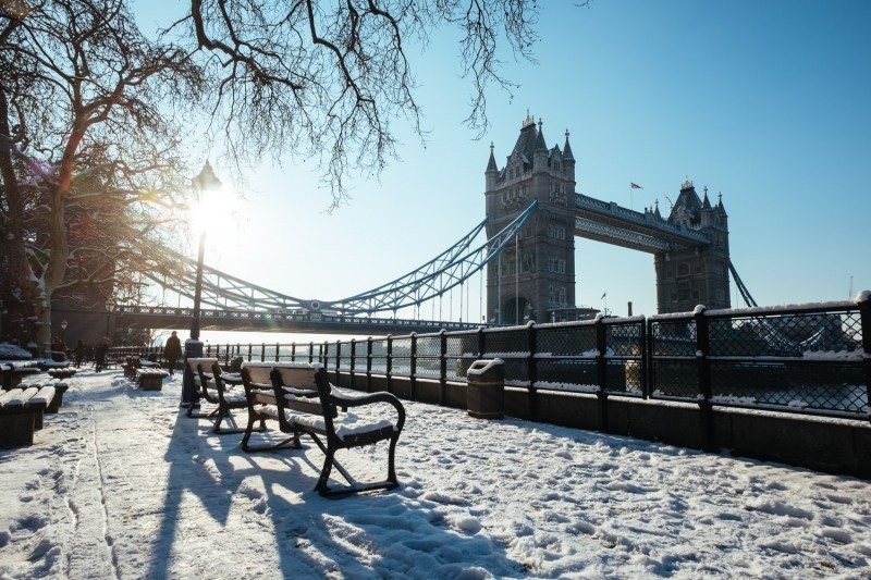 tower bridge from the tower of london and covered in snow