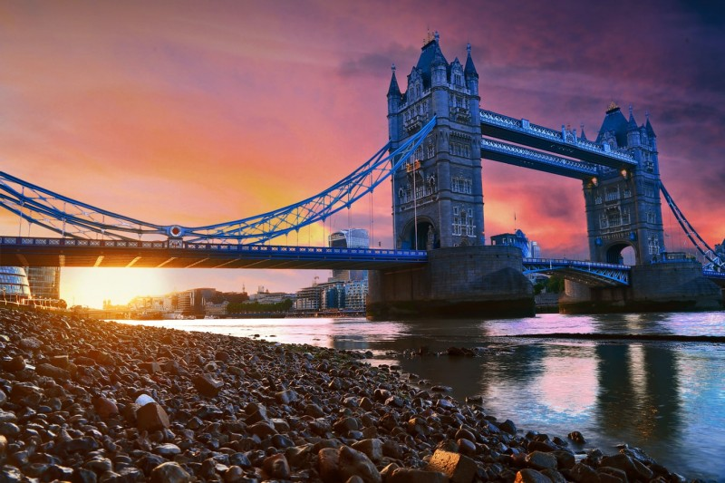 tower bridge with sunset in back ground