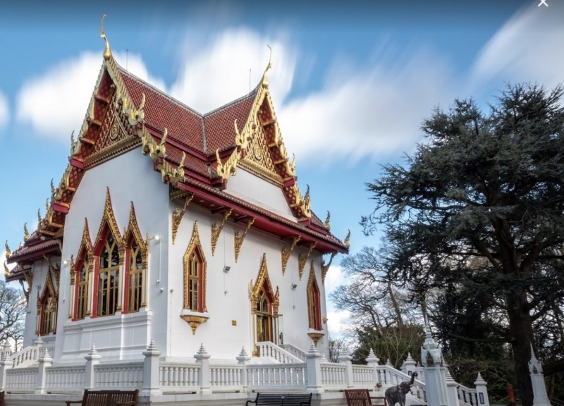 view of the buddhist temple in wimbledon, london