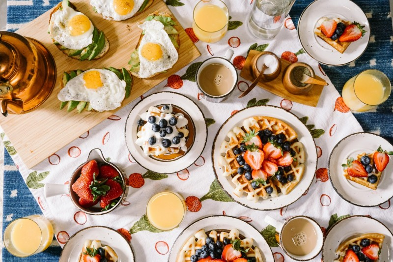 Aerial view of brunch on a table, brunch is one of the best things to do in Wimbledon